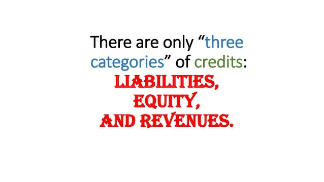 """There are only """"three categories"""" of credits: Liabilities, Equity, and Revenues."""