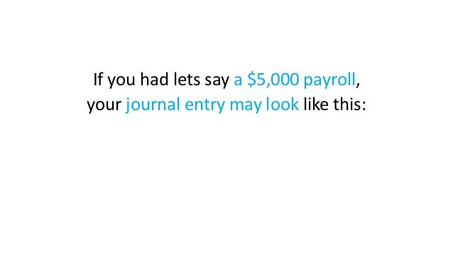 If you had lets say a $5,000 payroll, your journal entry may look like this: