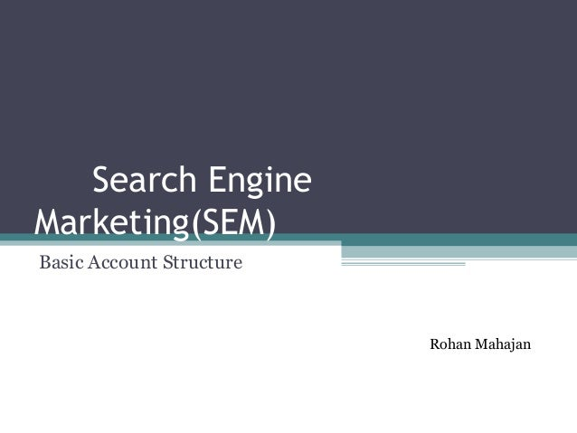 Search Engine Marketing(SEM) Basic Account Structure Rohan Mahajan