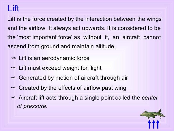 <ul><li>Lift is an aerodynamic force </li></ul><ul><li>Lift must exceed weight for flight </li></ul><ul><li>Generated by m...