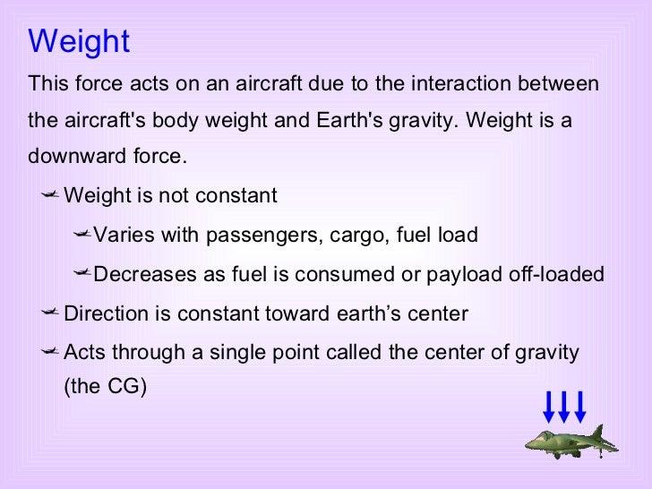 <ul><li>Weight is not constant </li></ul><ul><ul><li>Varies with passengers, cargo, fuel load </li></ul></ul><ul><ul><li>D...