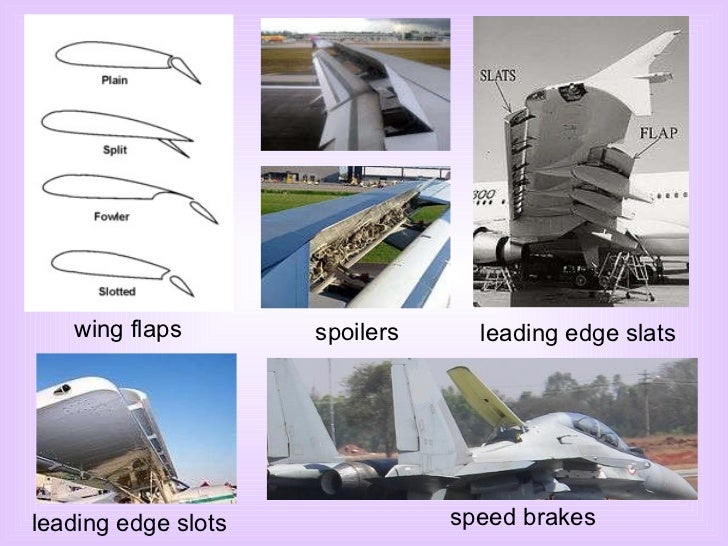 wing flaps spoilers leading edge slats leading edge slots speed brakes