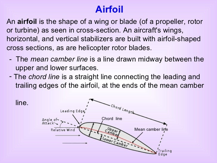 Airfoil An  airfoil  is the shape of a wing or blade (of a propeller, rotor or turbine) as seen in cross-section. An aircr...