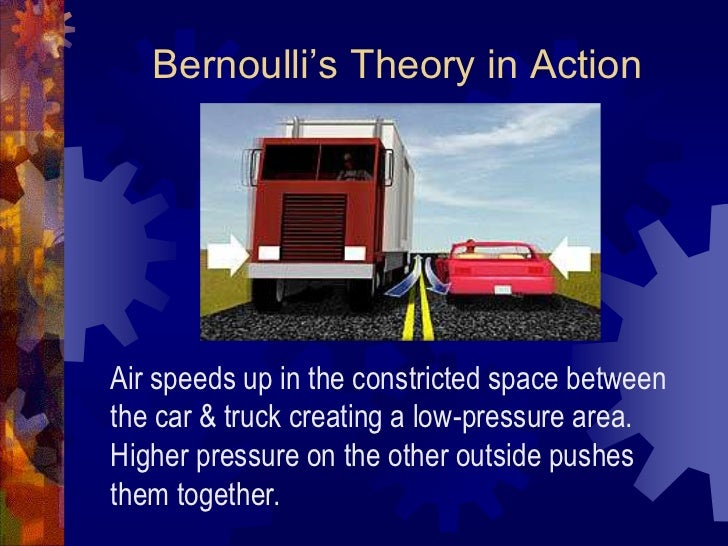 Bernoulli's Theory in Action<br />Air speeds up in the constricted space between the car & truck creating a low-pressure a...