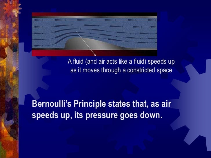 A fluid (and air acts like a fluid) speeds up as it moves through a constricted space<br />Bernoulli's Principle states th...