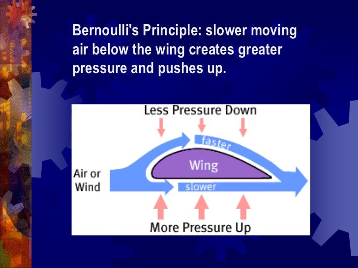 Bernoulli&apos;s Principle: slower moving air below the wing creates greater pressure and pushes up.<br />