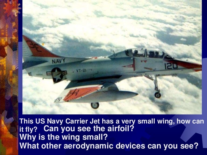This US Navy Carrier Jet has a very small wing, how can it fly?  <br />Can you see the airfoil?<br />Why is the wing small...