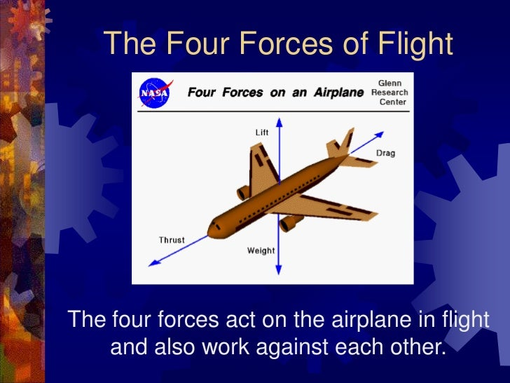 The Four Forces of Flight<br />The four forces act on the airplane in flight and also work against each other.<br />
