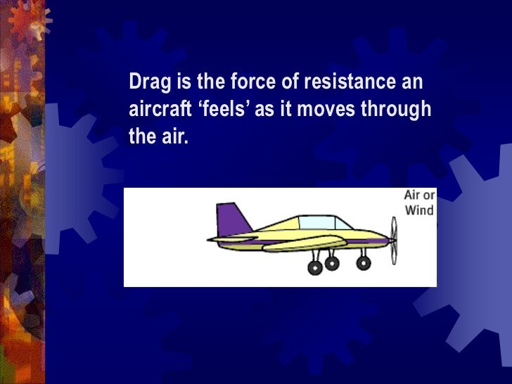Drag is the force of resistance an aircraft 'feels' as it moves through the air.<br />