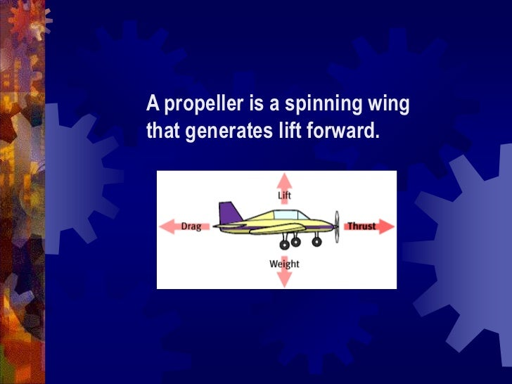 A propeller is a spinning wing that generates lift forward.<br />
