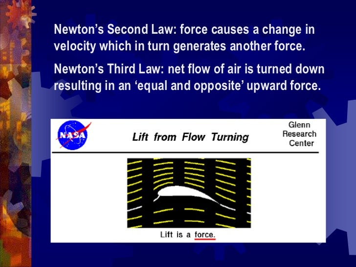 Newton's Second Law: force causes a change in velocity which in turn generates another force. <br />Newton's Third Law: ne...