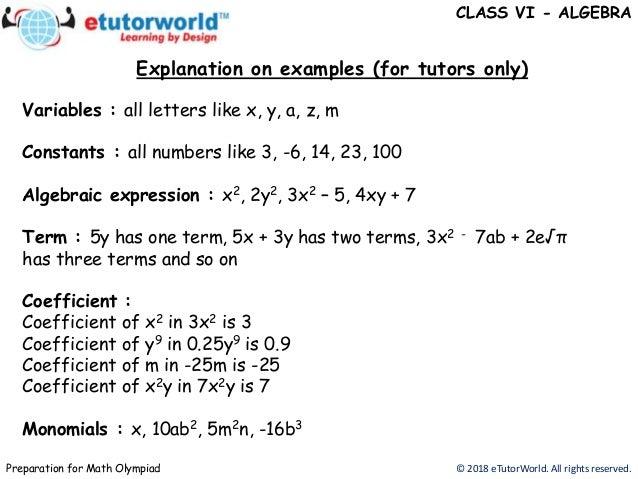Basic algebra