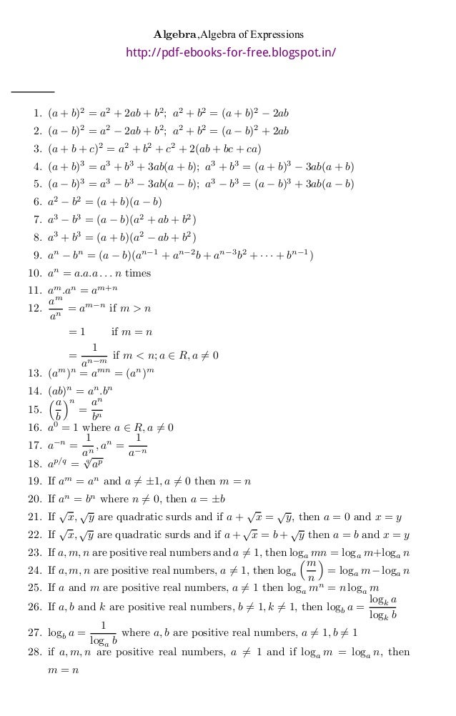 basic algebra math formulas ebook
