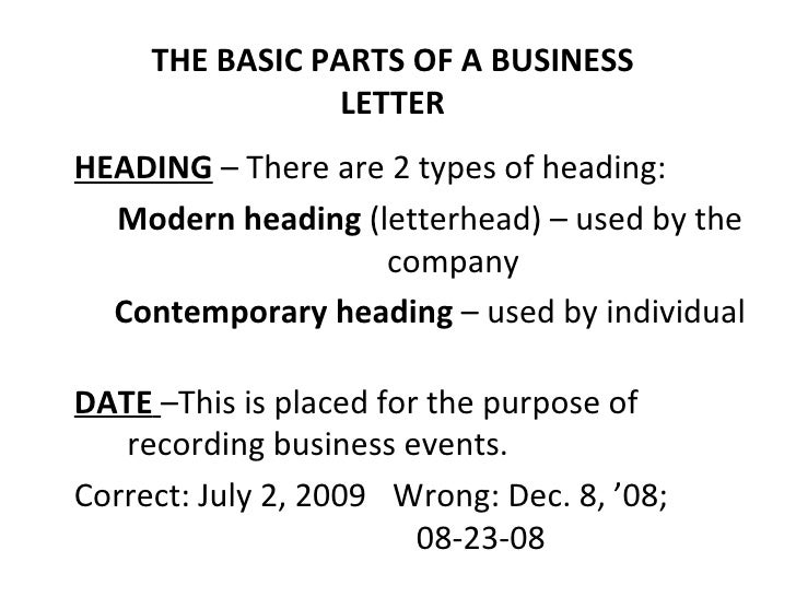 basic and miscellaneous parts of business letter - Main Parts Of Business Letter