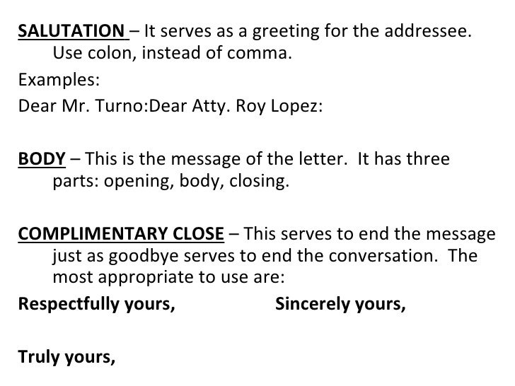 Basic and miscellaneous parts of business letter salutation spiritdancerdesigns Choice Image