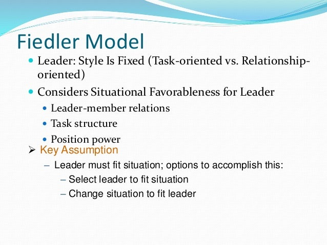 task oriented vs relationship oriented leader This study is about the relationship of principal's leadership style(task and  relationship orientation) and the efficiency of pe teacher's in zanjan high schools  in.