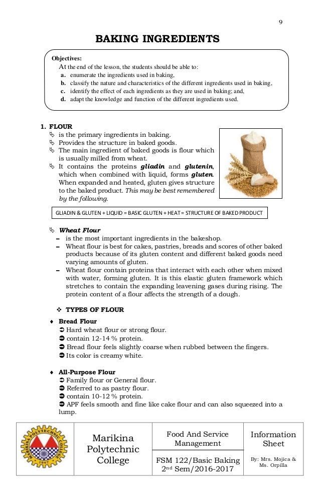 Enumerate the major ingredients in baking