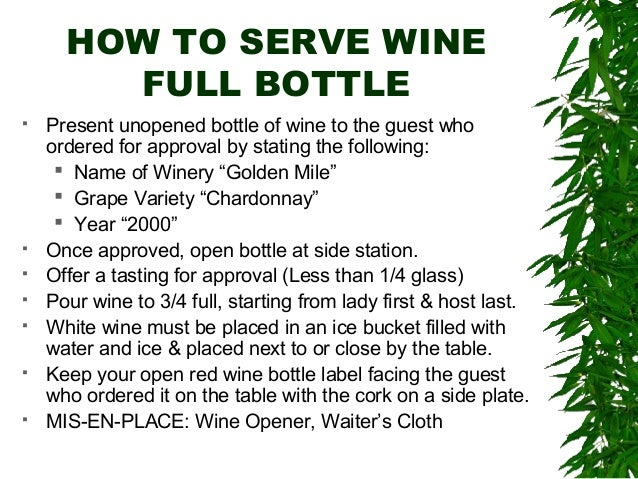 Basic beverage service ali for How to preserve wine after opening