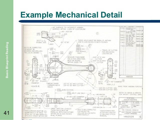 Basic Blueprint Reading Example Mechanical Detail 41 ...