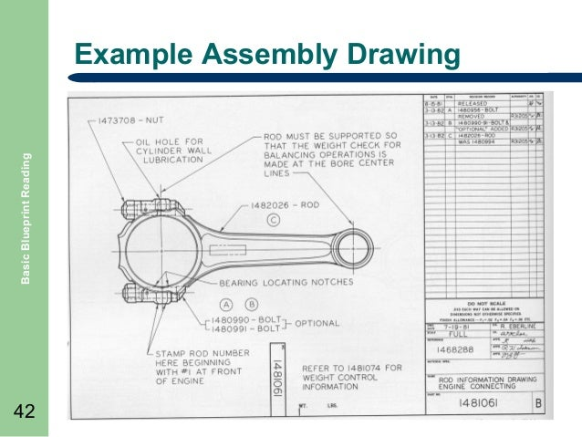 basic blueprint reading example assembly drawing 42