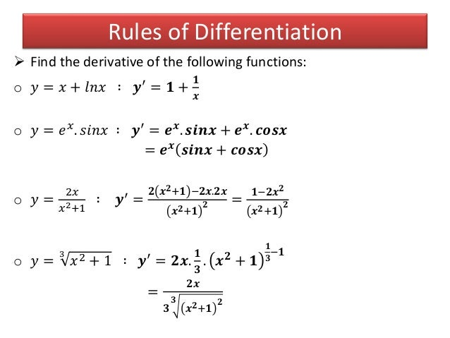 how to take the derivative of e