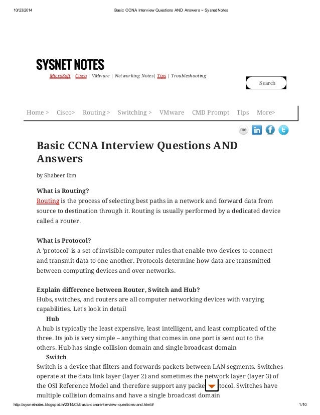 cisco networking interview questions and answers pdf
