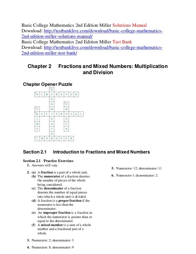 Basic college mathematics 2nd edition miller solutions manual
