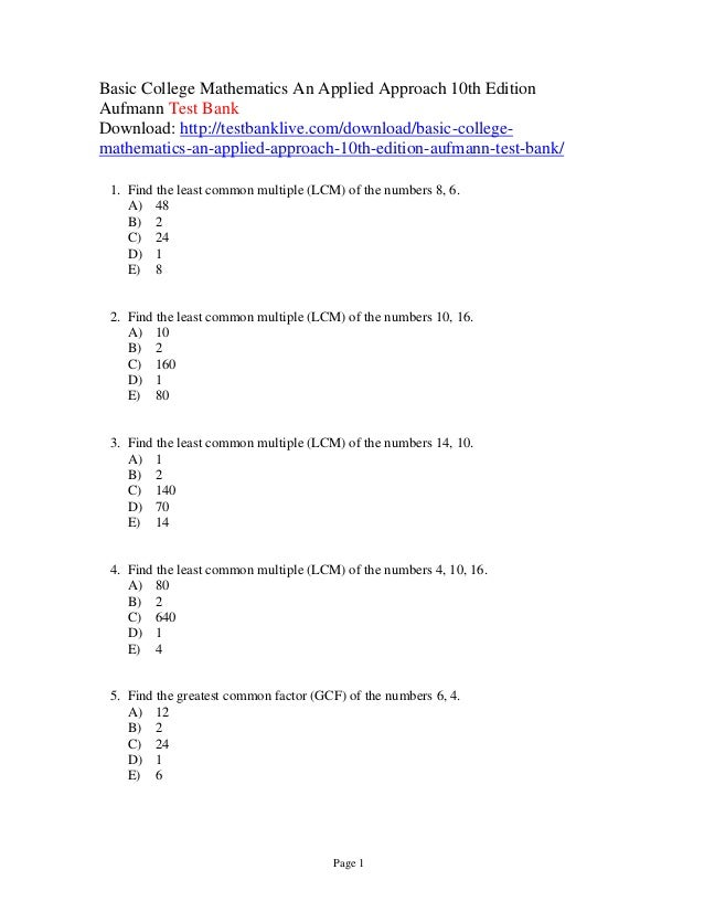 Basic college mathematics an applied approach 10th edition aufmann te…