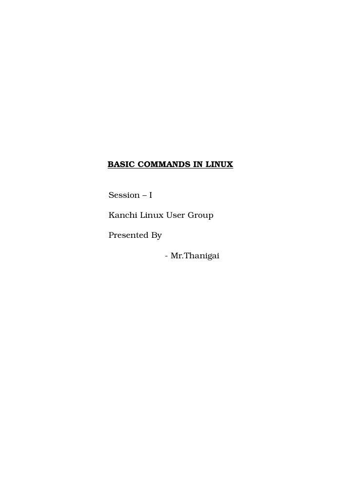BASICCOMMANDSINLINUX   Session–I  ...