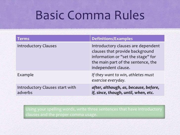 Basic comma rules