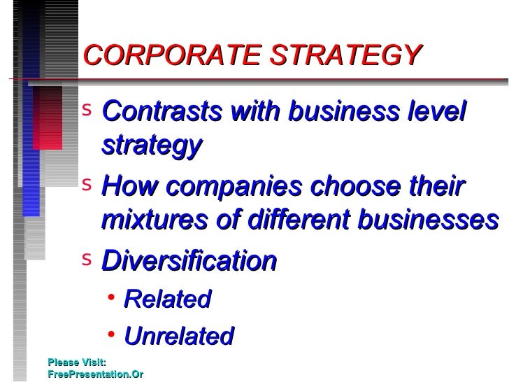 Corporate level strategy related diversification