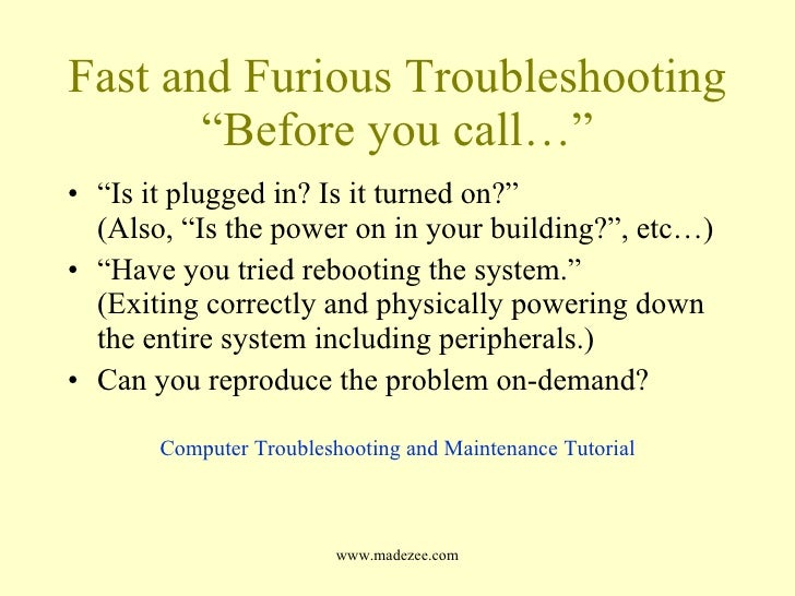 common computer troubleshooting questions Takes a look at 10 of the most common computer problems and looks at solutions for each one that you can do yourself.