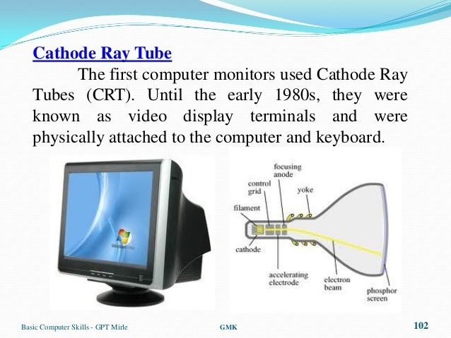 Cathode Ray Tube         The first computer monitors used Cathode Ray   Tubes (CRT). Until the early 1980s, they were   kn...
