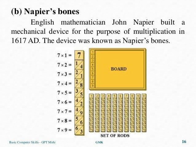 (b) Napier's bones       English mathematician John Napier built a mechanical device for the purpose of multiplication in ...