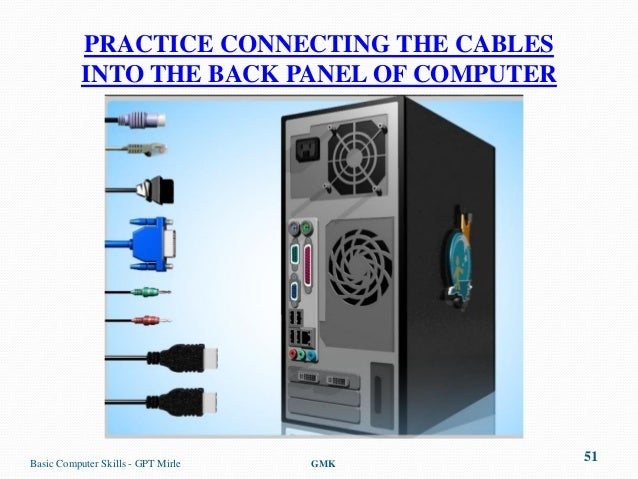 PRACTICE CONNECTING THE CABLES           INTO THE BACK PANEL OF COMPUTERBasic Computer Skills - GPT Mirle   GMK           ...