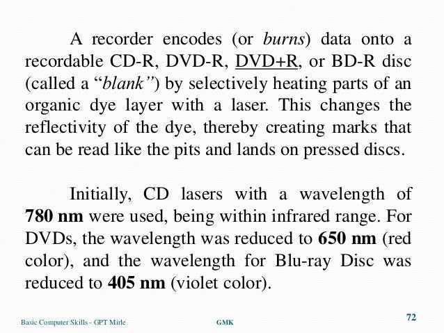 """A recorder encodes (or burns) data onto a recordable CD-R, DVD-R, DVD+R, or BD-R disc (called a """"blank"""") by selectively he..."""