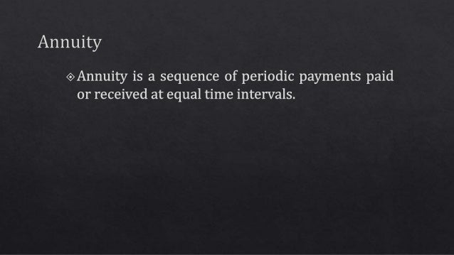 basic concept of annuity