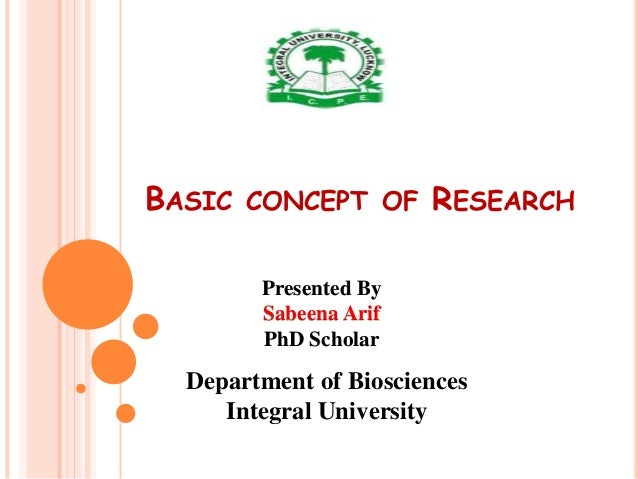 BASIC CONCEPT OF RESEARCH Department of Biosciences Integral University Presented By Sabeena Arif PhD Scholar