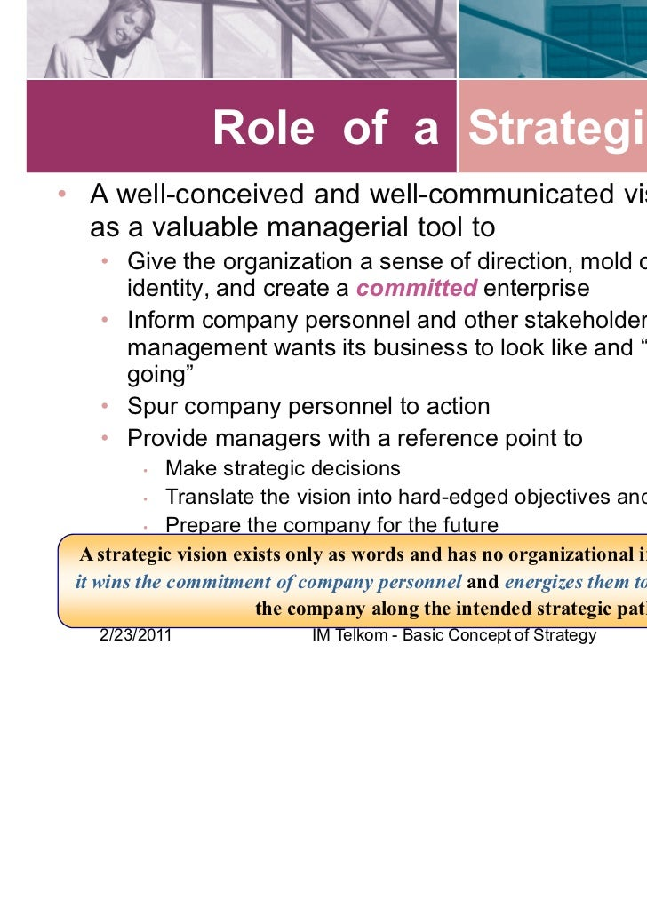 key concepts of strategic management The concept of strategic planning kirsten wismer  strategic management  specifying the  most important tasks for top management to formulate the.