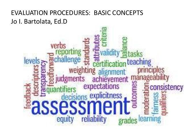 EVALUATION PROCEDURES: BASIC CONCEPTS Jo I. Bartolata, Ed.D
