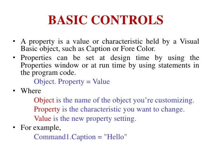 Basic controls of Visual Basic 6.0 Slide 2