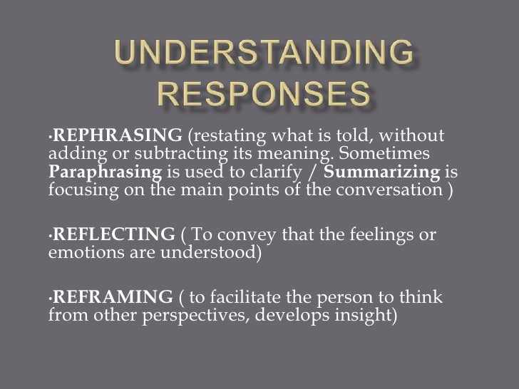 •REPHRASING     (restating what is told, withoutadding or subtracting its meaning. SometimesParaphrasing is used to clarif...