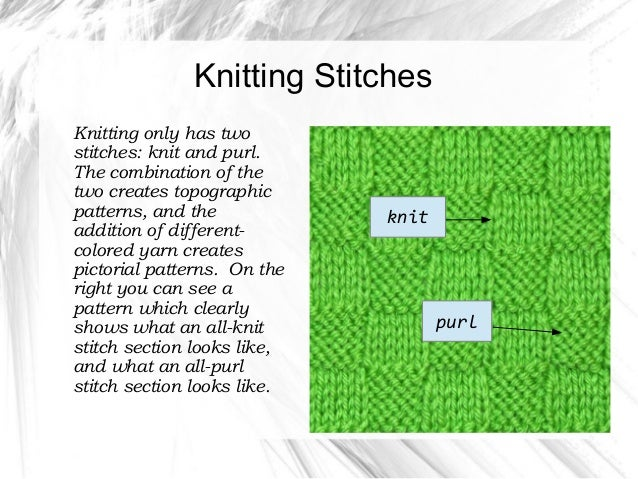 Difference Between Knit Stitch And Purl : Basic crochet & knitting
