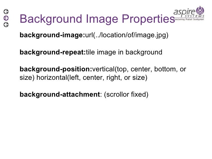 Background Image Properties background-image: url(../location/of/image.jpg) background-repeat: tile image in background ba...