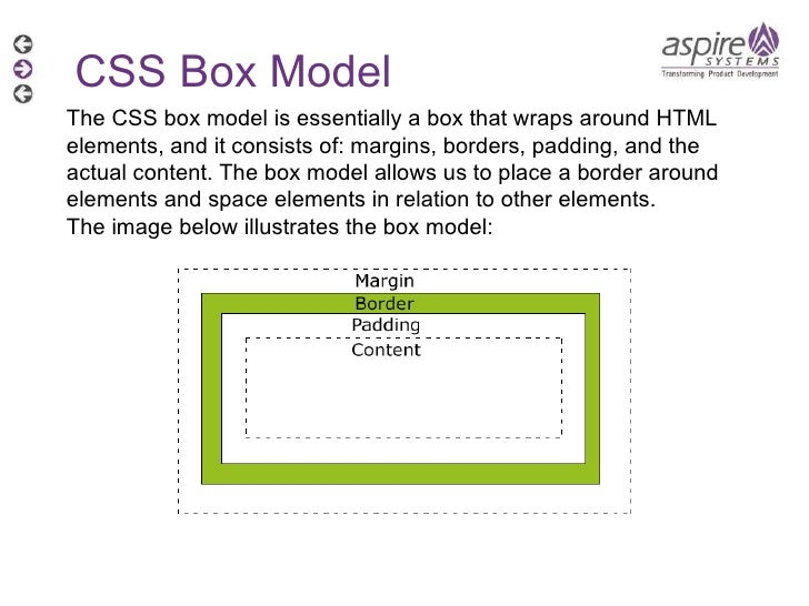 CSS Box Model The CSS box model is essentially a box that wraps around HTML elements, and it consists of: margins, borders...
