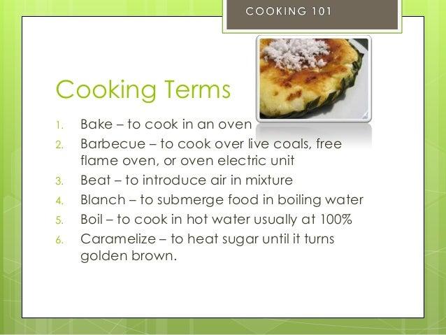 basic terminologies in food preparation