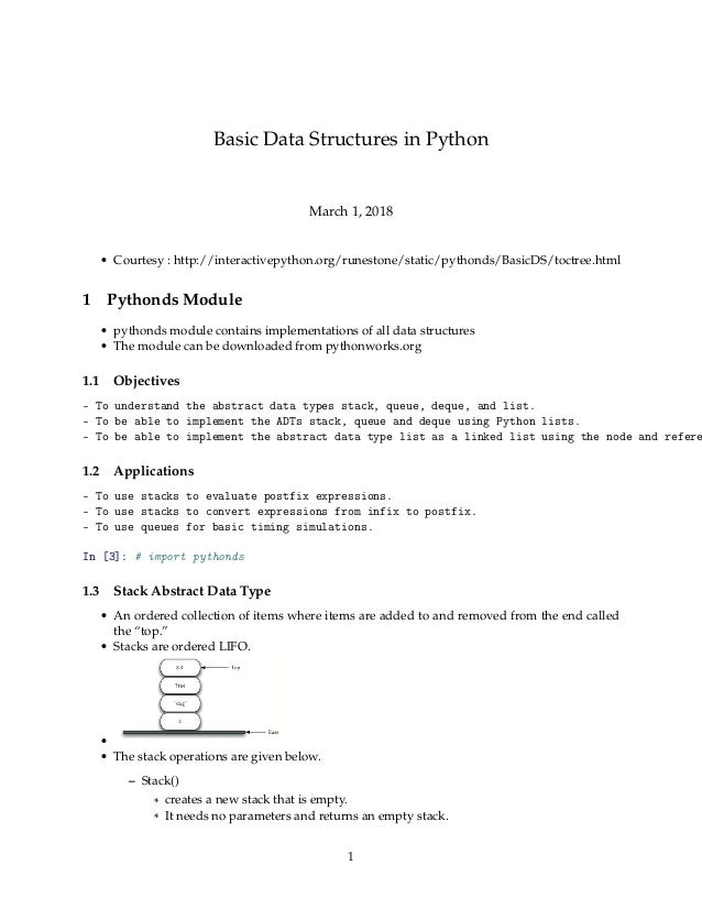 Basic data structures in python