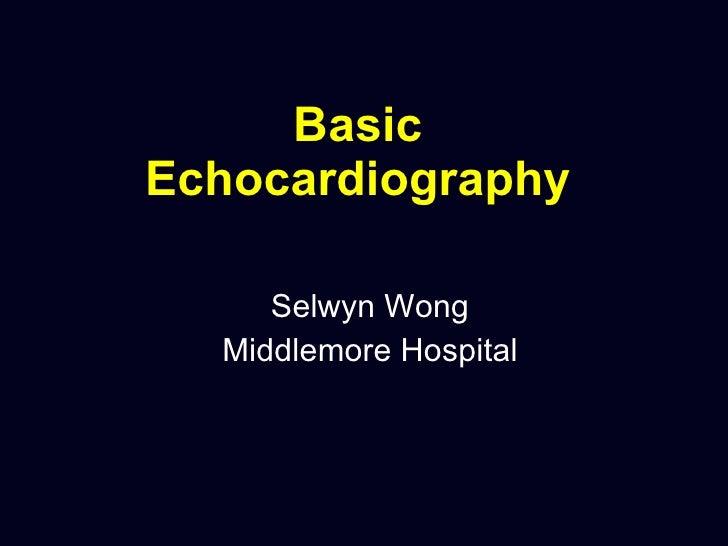 Basic Echocardiography   Selwyn Wong Middlemore Hospital