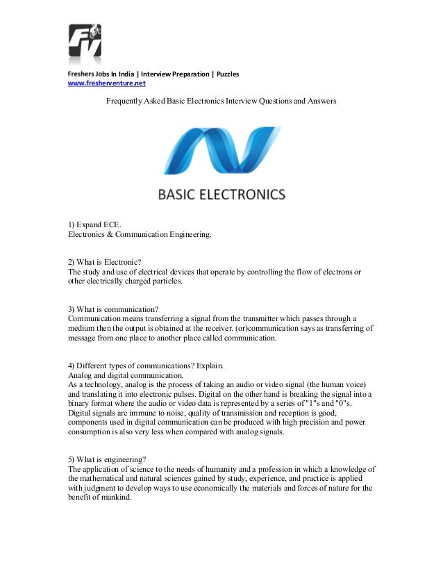 basic electronic interview questions and answers rh slideshare net