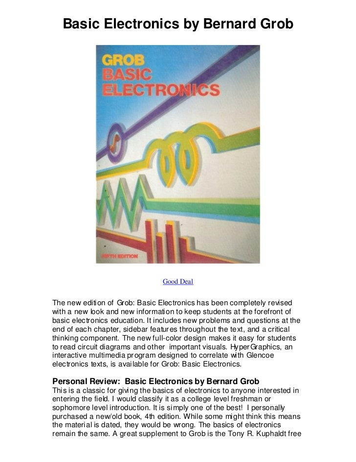 Basic Electronics By Bernard Grob The Prerequisite To Dr Malvino S